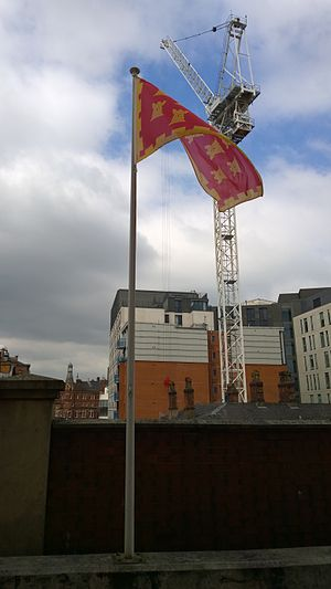 Flag of Greater Manchester - County flag flying at Manchester Piccadilly railway station