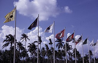 Paya Lebar Air Base - Image: Flags outside Singapore International Airport, photographed February 1969 × July 1971