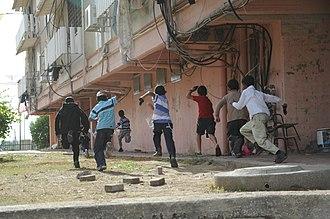 Operation Pillar of Defense - Israeli children running for shelter as an air-raid siren sounds.