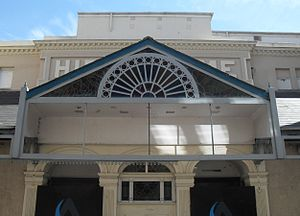 Brighton Hippodrome - The glazed awning spans the façade.  The three-arched main entrance is visible below this section.