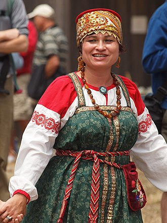 Sarafan - Sarafan worn with a  Kokoshnik on a Russian folk festival