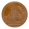 Framsida av medalj med bild av man som håller en fana - Skoklosters slott - 99315.tif