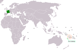 Map indicating locations of France and Vanuatu