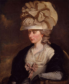 Portrait of Frances Burney reclining in a chair.