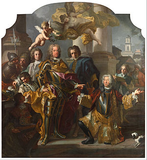 Stallburg - Emperor Charles VI presented with a new catalog from Gundacker, Count Althann, by Francesco Solimena, 1728
