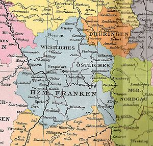 Duchy of Franconia - Western and Eastern Franconia, about 1000