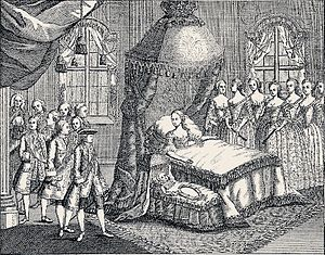 1768 in Denmark - 29 January: The newborn Prince Frederik on display together with his mother Queen Caroline Matilda one day after his birth