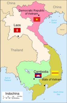 Mapa mostrando a partição da Indochina Francesa após a Conferência de Genebra de 1954