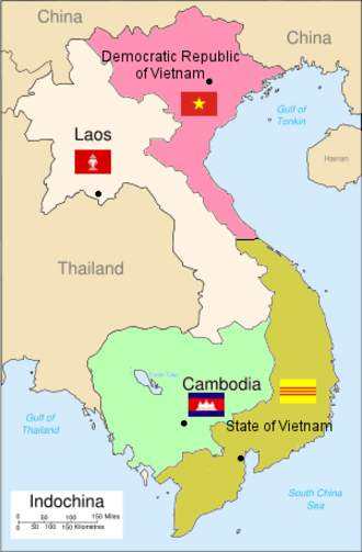 1954 Geneva Conference - The partition of French Indochina that resulted from the Conference.  Three successor states were created: the Kingdom of Cambodia, the Kingdom of Laos, and the Democratic Republic of Vietnam, the state led by Ho Chi Minh and Viet Minh.  The State of Vietnam was reduced to the southern part of Vietnam.  The division of Vietnam was intended to be temporary, with elections planned for in 1956 to reunify the country.