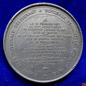 National Assembly (1871) - Numismatic reference of the first decisions of the French National Assembly at Bordeaux in February and March 1871, reverse.