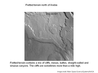 Fretted terrain - Image: Fretted terrain of Ismenius Lacus taken with MGS