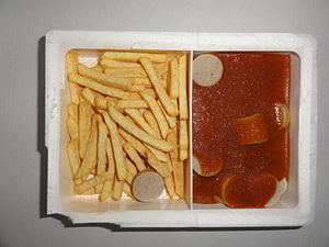 TV dinner - A frozen TV dinner of currywurst and French fries