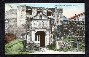 Fort San Pedro - Front entrance of Fuerte de San Pedro circa 1900.