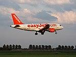 G-EZIY easyJet Airbus A319-111 landing at Schiphol (EHAM-AMS) runway 18R pic2.JPG