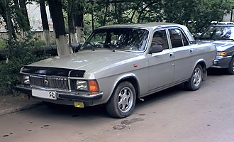 GAZ-3102 - It is not hard to pinpoint production year for any GAZ-3102 just by visual examination. The lower location of the fuel hatch—after 1993. Metallic paint—after 2001. Original door handles—before 2005.