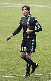 Photographie montrant l'argentin Gabriel Heinze sous le maillot de l'OM.