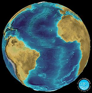 General Bathymetric Chart of the Oceans - Atlantic Ocean 3D visualization