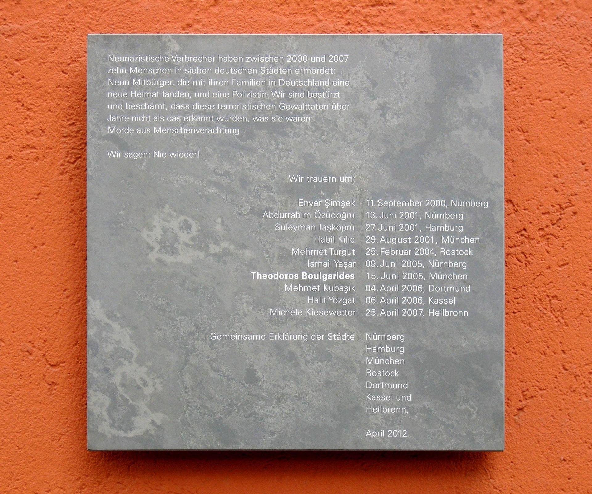 Gedenktafel für die NSU-Opfer