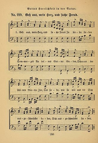Geh aus, mein Herz, und suche Freud - A three-part setting in a hymnal of the Lutheran congregations in Philadelphia, 1876