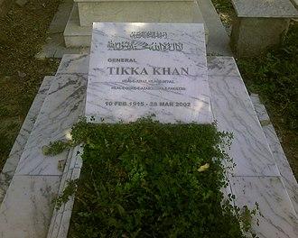 Tikka Khan - Tikka Khan's grave at Army graveyard, Rawalpindi