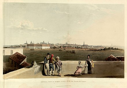Emeric Essex Vidal, General view of Buenos Ayres from the Plaza de Toros, 1820. In this area now lies the Plaza San Martin. General view of Buenos Ayres from the Plaza de Toros - Emeric Essex Vidal - Picturesque illustrations of Buenos Ayres and Monte Video (1820).jpg