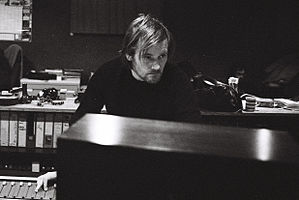 Geoff Barrow, at the mixing desk in State of Art Studio, Bristol.jpg