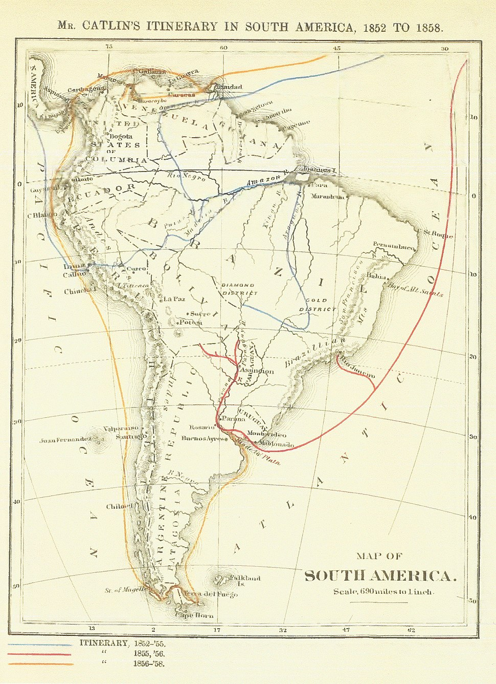 George Catlin's travels in South America, 1852-1858