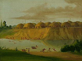 Hidatsa Village, Earth-covered Lodges, on the Knife River, 1810 Miles above St. Louis