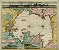Gerard Van Keulen. Nieuwe Caart van de Capische Zee, met alle met all desselfs Riviere, Eylanden en Dieptens. (with view of Astrakan). ca. 1720.jpg