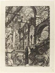 Le Carceri d'Invenzione, plate V: The Lion Bas-Reliefs