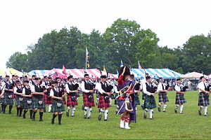 Glasgow Highland Games -  Drum Major Greg Cutcliff leading the massed bands at the opening ceremony of the 2008 Glasgow Highland Games