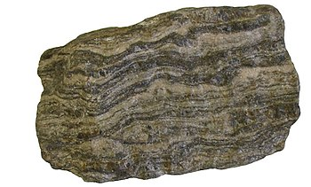 Gneiss, a foliated metamorphic rock.