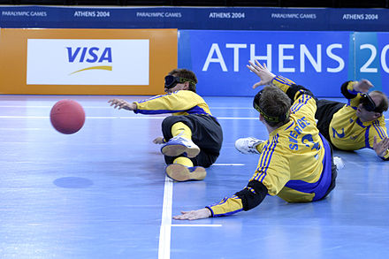 The Swedish goalball team at the 2004 Athens Paralympic games