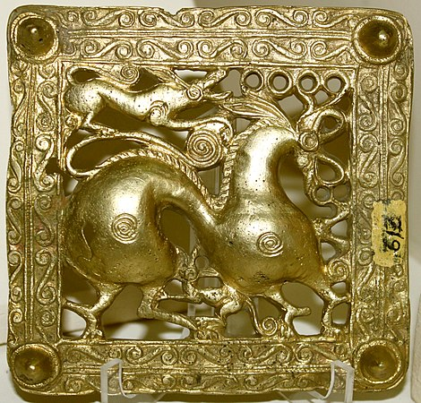 Gold scythian belt title from Mingachevir, Azerbaijan.JPG