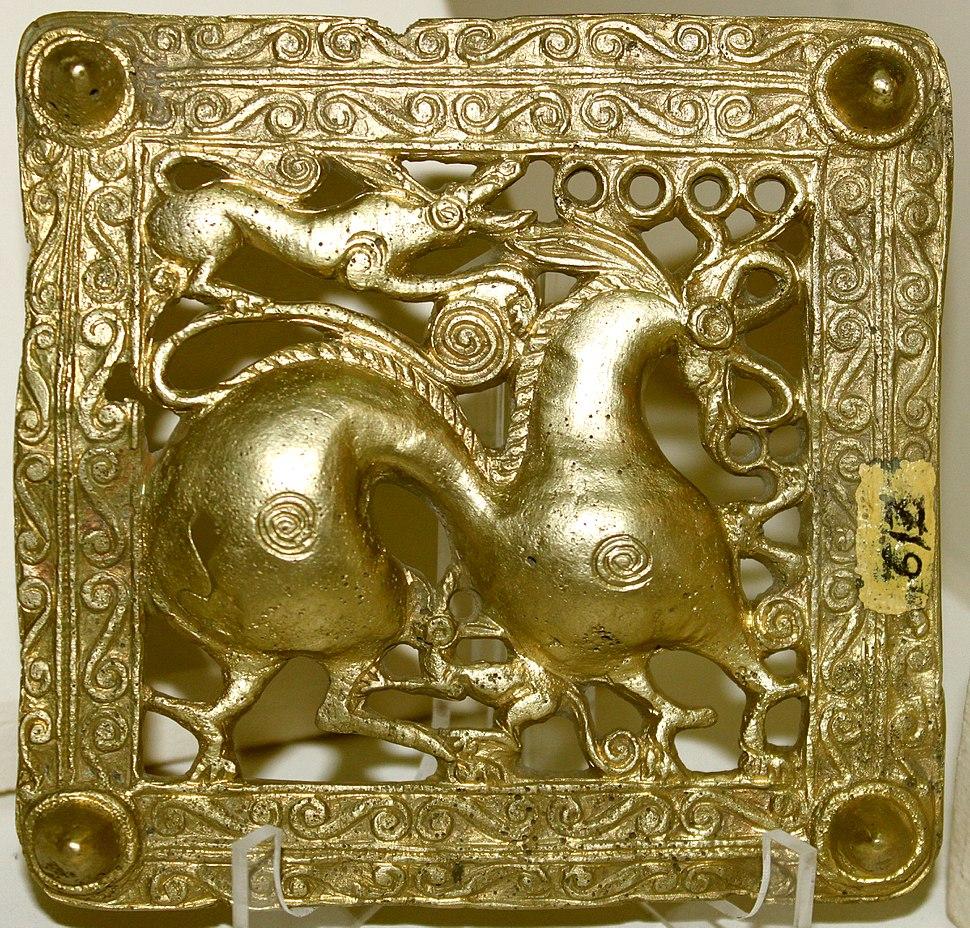 Gold scythian belt title from Mingachevir, Azerbaijan