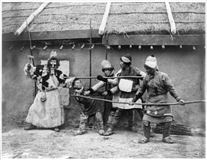 "Nanai people - Goldi tribesmen acting out folk drama, ""The repulse of the kidnapper"" 1895"