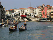 Gondolas in Venice; Rialto Bridge in background