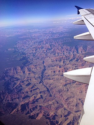 Grand Canyon - The Grand Canyon from an airplane, with the Colorado River visible