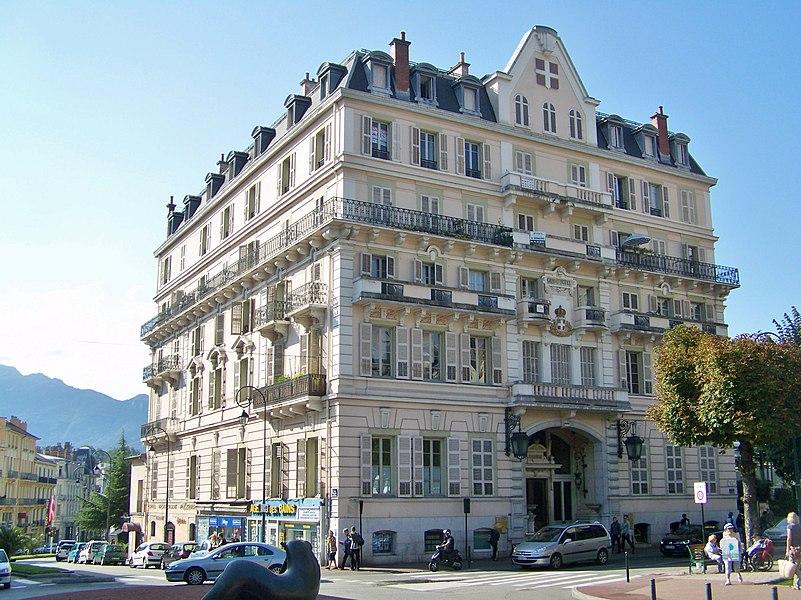 Sight of Grand Hôtel building, in Aix-les-Bains, Savoie, France.