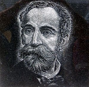 Eugenio María de Hostos - Hand-etched granite portrait of Eugenio María de Hostos by artist Osvaldo Torres at Cruzacalles.