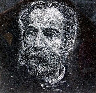 Eugenio María de Hostos - Hand-etched granite portrait of Eugenio María de Hostos by artist Osvaldo Torres at Cruzacalles.