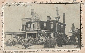 Gray Court, South Carolina - The residence of R.L. Gray, for whom the town is named, was shown on a postcard mailed in 1907.
