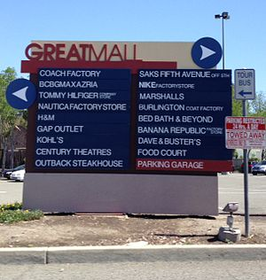 Great Mall of the Bay Area - The sign that directs shoppers outside the mall
