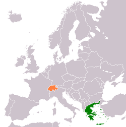Map indicating locations of Greece and Switzerland