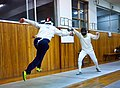 Greek Epee Fencers. Fencing at Athenaikos Fencing Club with fencers and friends from other clubs.jpg