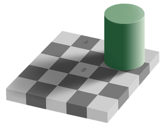 Cognitive science - An optical illusion. The square A is exactly the same shade of gray as square B. See checker shadow illusion.