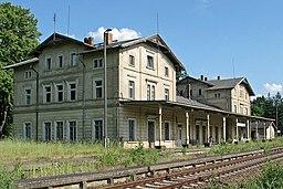 Former train station (1877–2004) in Großpostwitz, district Bautzen, Saxony, Germany.