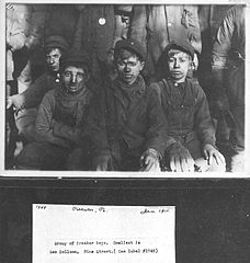 Group of breaker boys. Smallest is Sam Beloma.jpg