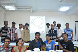 Group photo of the Wikipedia 15 Bangalore participants.JPG