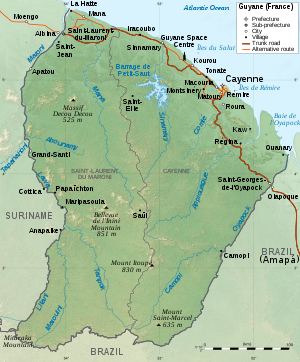 Map of French Guiana.